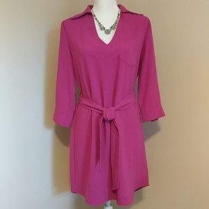 Trina Turk hot pink v neck dress Size 4
